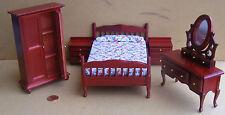 1:12th Scale 5 Piece Mahogany Bedroom Set Dolls House Miniature Bedroom 267