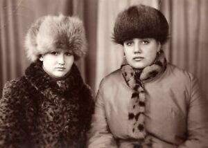 *Russian Women* Vintage Soviet Photo 1980s USSR Fashion Fur Hats Coats e1