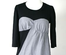See by Chloe - Black / White cotton houndstooth empire line dress - UK 10