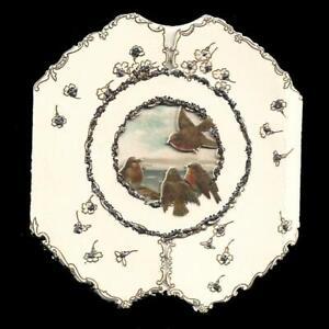Y16 - BIRDS & SEA SCENE - DIECUT FOLDING STANDING GLITTERED VICTORIAN XMAS CARD