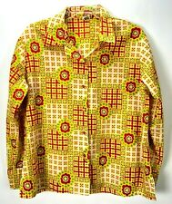 Vintage Retro Blouse Women's size 42 MOD Top Button Up BOLD Crinkle Red Green