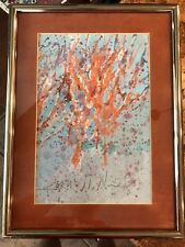 Jim N. Hill  Abstract Original Hand Painted Watercolor Signed Framed Matted
