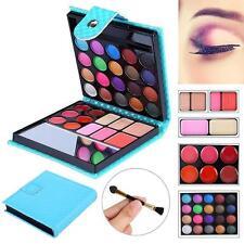 32 Colors Shimmer Eyeshadow Eye Shadow Palette Makeup Cosmetic Brush Set Blue DX