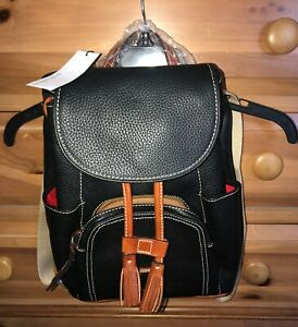 New  Dooney & Bourke Medium Black Pebbled Leather Murphy Backpack R1382 BL
