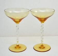 VINTAGE PAIR OF CHAMPAGNE GLASSES CLEAR AMBER GLASS