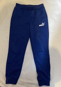 PUMA Blue Tie String Waist Joggers Tracksuit Bottoms White Logo 7-8 Years Pocket