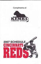 2007 CINCINNATI REDS BASEBALL POCKET SCHEDULE  -  KEMBA CREDIT UNION