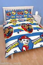 DOUBLE BED PAW PATROL PAWSOME DUVET COVER SET CHASE MARSHALL DOG STRIPES STARS
