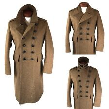Burberry Brit Wool Trench Coat Double Breasted Military Steampunk Rocker Large