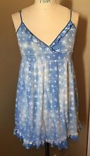 PINK BY VICTORIA'S SECRET BLUE WITH STARS SPAGHETTI STRAP DRESS