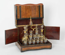 Antique French Wooden Cave de Liqueur Tantalus Cabinet with Decanters & Glasses