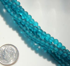 Round Beads, 4mm, Teal w/Frosted, Matte, Seaglass Finish, 21 Pieces