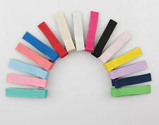 50 Mixed colors Grosgrain Ribbon Covered Metal double prong Alligator Hair clip