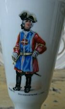 Old Limoges Memory Porcelain Chalice Cup Vase with Musketeer Painting