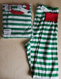 NWT Hanna Andersson VERY MERRY GREEN XMAS ADULT Pajamas XL BOTTOM, XXL TOP