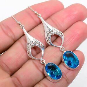"Blue Topaz Gemstone 925 Sterling Silver Earring 2.3"" KE-5296"