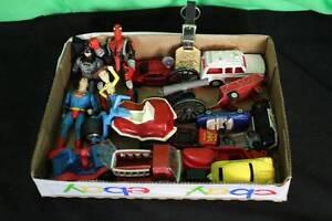 Lot Box Of Toys Tootsie Matchbox Marvel Superman Batman Spider-Man Collectible