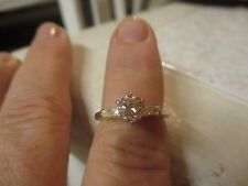 14K Y/G DIAMOND SOLITAIRE ENGAGEMENT RING W/ONE BAGUETTE EACH SIDE; STUNNING!!