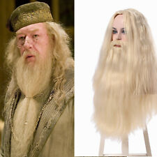 Dumbledor Long With Beard Wig Blonde Curly Wavy Hair Cosplay Wigs Halloween