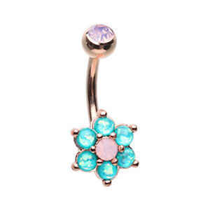 Rose Gold Admirable Glitter Opal Flower Belly Ring Pretty Teal White Sexy Water