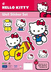 Hello Kitty Wall Stickers Large A4 Sheet Easy Peel Non Marking Ideal for Bedroom