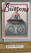 2 Fancy Clear Lucite inset Rhinestones = VINTAGE BUTTONS = Cassie Annie ART CARD