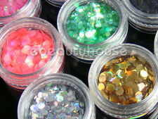 12 Colors 3 mm Nail Art Spangles Round Glitter acrylic system Decoration #032F