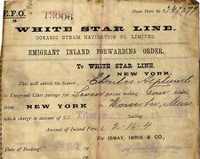 TITANIC COPY OF AN  ORIGINAL RARE TRAVEL TICKET WHITE STAR LINE