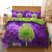 Purple Dandelion 3D Quilt Duvet Doona Cover Set Single Double Queen King Print
