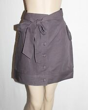 i like molly Brand Dark Grey Button Front Belted Day Skirt Size 14-L BNWT #SY82