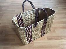 Brand New Authentic Moroccan Beige/Purple/Brown Basket Shopper/Picnic Tote Bag