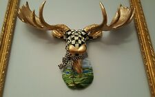 My Hand Painted Landscape Faux Moose Head W/ Mackenzie Childs Courtly Check Rib.