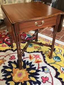 Chinese? Chippendale End Table Drop Leaf W/ Drawer