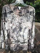 Chico's Exclusively Gorgeous New $ 109 Foiled Velvet Pullover Tunic Top 2(14-16)