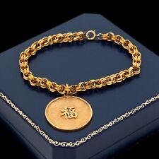 Antique Vintage Deco Retro 14k Yellow Gold Chinese Hanzi Medal Charm Bracelet