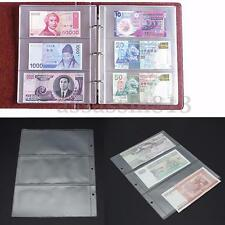 5 Clear Currency Holder Album Pages 3 Pockets Money Bill Note PVC Collection
