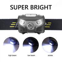 LED USB Batería Linterna de cabeza Frontal Head Lámpara Antorcha Luz Iluminación