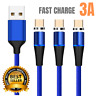3Pack Magnetic Micro USB Cable 3A Fast Charge Android Charger Data Sync Cord Lot