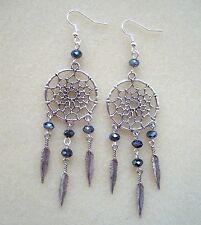 Beautiful Dreamcatcher Black Crystal and Feather Charm Long Dangly Earrings