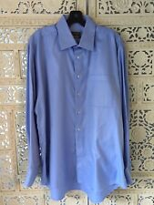 "NEIMAN MARCUS ""IKE BEHAR"" Blue Long Sleeved-DRESS SHIRT- Size 16 1/2, 35"