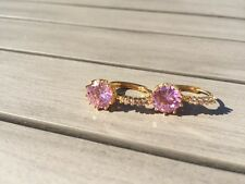 24ct Yellow Gold Filled Round Cut Pink Sapphire Crystal Leverback Earrings Hoop