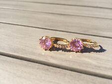 24ct Oro giallo riempito Taglio Rotondo Rosa Cristallo Zaffiro Leverback orecchini a cerchio