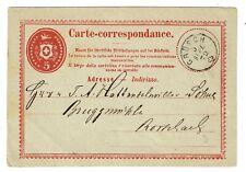 1872 Switzerland 5c Postal Stationery Card - Grosch to Rorshach