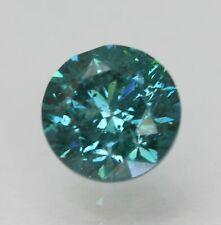 0.53 Carat Vivid Greenish Blue Round Brilliant Enhanced Natural Diamond 4.98mm