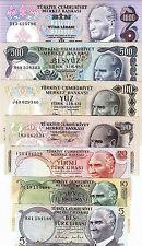 TURKEY 1970-1976 AUNC / UNC 7 PCS SET 5 10 20 50 100 500 1000 LIRA P-185 TO 191