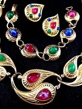 TRIFARI TM GRIPOIX CABOCHON MOGHUL INDIA PAISLEY NECKLACE BRACELET EARRINGS SET