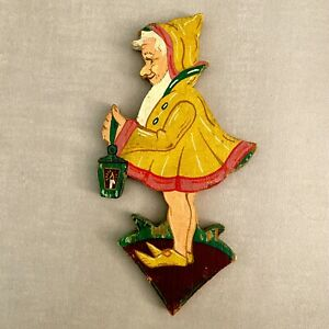 Antikes Märchen Holz Bild: 1930er Gelber Hoodie Kleid Zwerg 16cm Gnom Deutsch