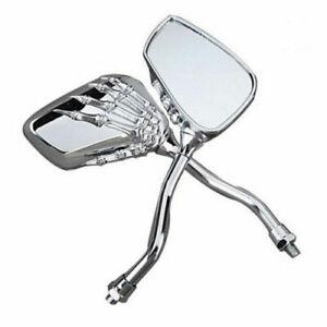 Chrome Skeleton Hand Motorcycle Rearview Side Mirrors For Harley Honda Kawasaki