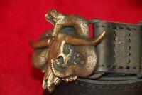 Vintage bronze brass belt buckle snake skull rattlesnake exclusive custom