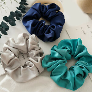 Silk Scrunchies Hair Scrunchie Elastic Hair Band Solid Color Women Girl Headwear